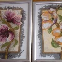wyszyty kwiat magnolii i wisni ,prezent dla kuzynki