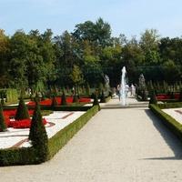 Kwiaty i drzewa w Parku w Wilanowie latem.