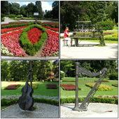 Lekcja  gry na fortepianie w parku.