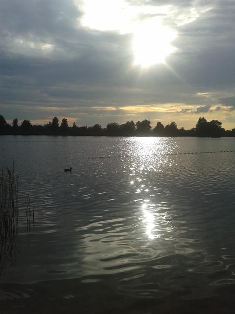 Zachód słońca,jezioro na Dębowej