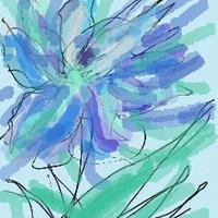 Kwiatek w odcieniach niebieskiego - mój rysunek