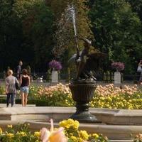 Kwiaty i fontanna w Parku Wilanowskim