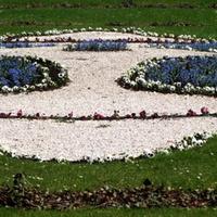 Klomb w parku przed pałacem