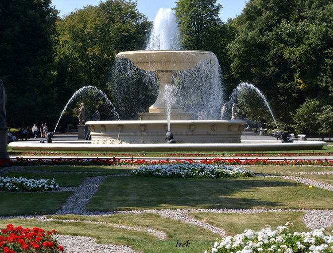 Kwiaty przed prawdziwą fontanną w parku