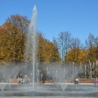 Jesienne drzewa w parku i fontanna