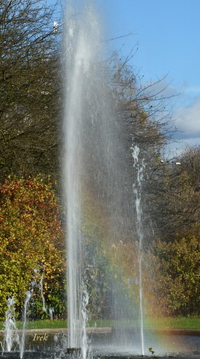 Fontanna z tęczą w parku