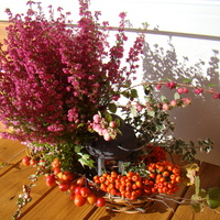 Jesienny stroik z wrzoścem:)