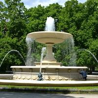 Kwiaty są na obrzeżu fontanny (następne zdj.)