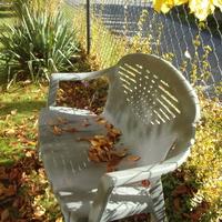 Jesień odpoczywa na ławeczce.